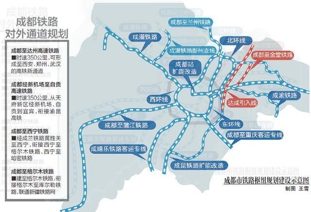 新《规划》中,天府站的选址敲定。虽然规划图纸上的移动距离只有1厘米左右,但确定这个点足足花了5个月时间。据规划,新区将有6条客运专线,包括成渝高铁、成昆高铁、成绵乐高铁、成遂南达万高铁4条高速铁路,以及成资城际和成自泸城际2条城际铁路。 在天府新区的综合交通发展规划上,位于双流县正兴镇的天府铁路新客站和成渝客专的龙泉驿(微博)站,都赫然在列。据悉,规划中的天府铁路新客站将成为新的国铁枢纽站。 内通 19条地铁各个片区都有轨道线 除了好出远门外,在天府新区内上班也将很方便。根据规划,天府新区